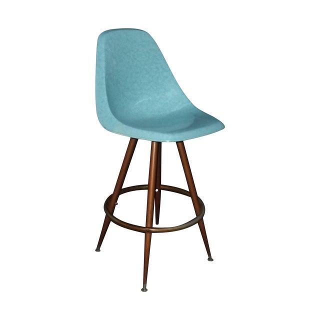 Image of Mid-Century Turquoise Fiberglass Peg Leg Bar Stool