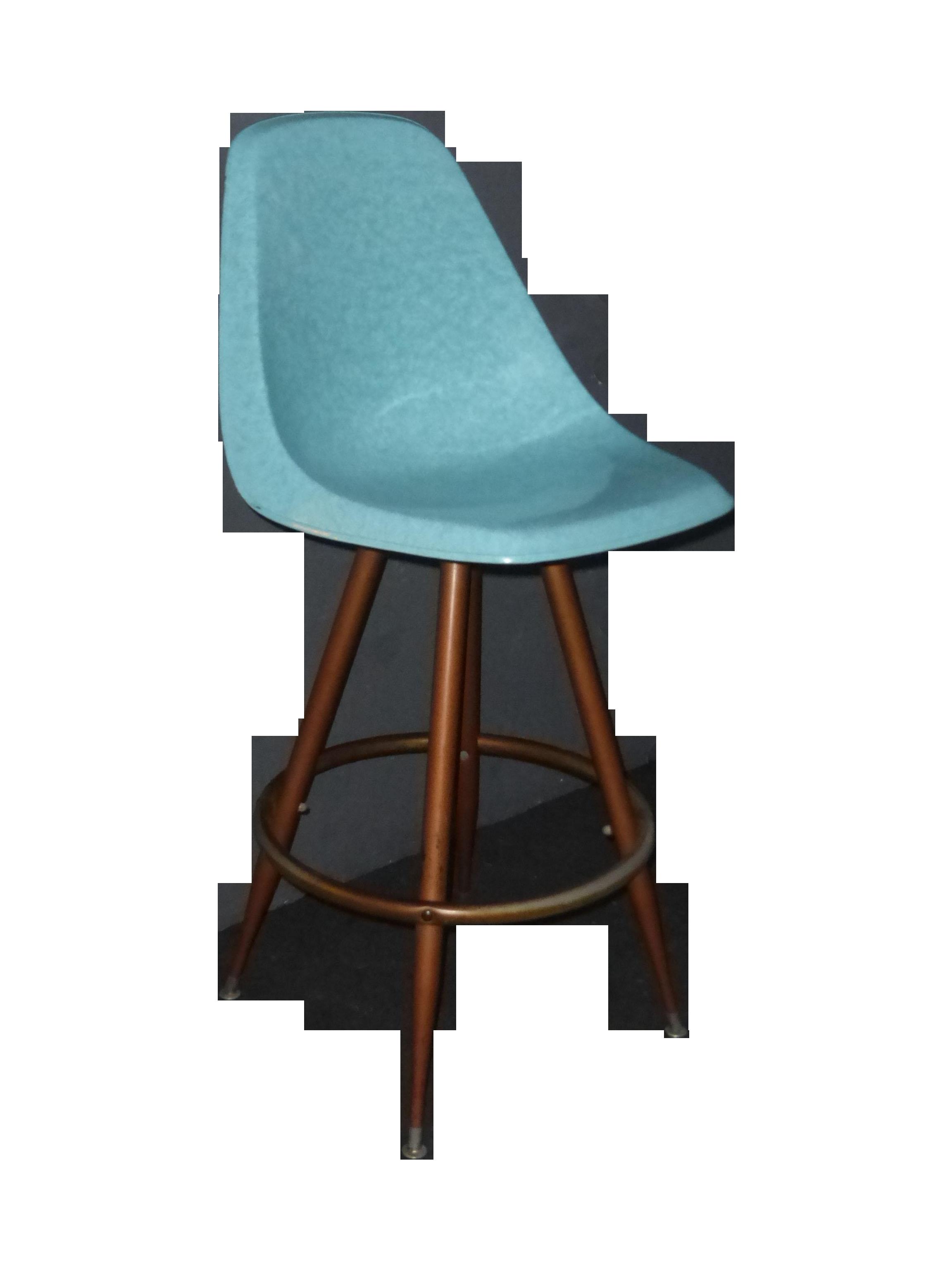Mid Century Turquoise Fiberglass Peg Leg Bar Stool Chairish