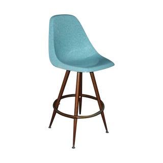 Mid-Century Turquoise Fiberglass Peg Leg Bar Stool