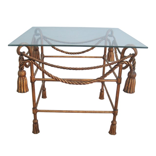 Mid-Century Italian Hollywood Regency Table With Gilt Cast Metal Rope Tassels Base Only - Image 1 of 9