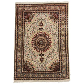 RugsinDallas Vintage Wool & Silk Persian Tabriz Rug - 4′9″ × 6′9″