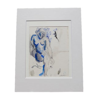 Martha Holden Blue Nude Watercolor & Ink Painting