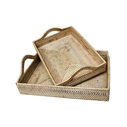 Rattan Handled Tray Set - A Pair - Image 2 of 3