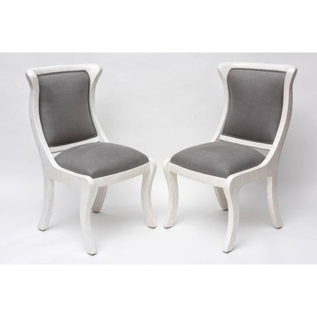 Tesselated Bone and Linen Side Chairs - Image 5 of 10