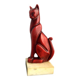 Mid-Century Art Deco Bronze Cat Sculpture