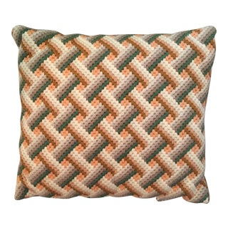 Vintage Retro Bargello Basketweave Needlepoint Pillow
