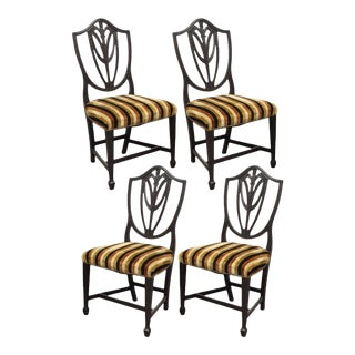 Antique Sheraton Shield Back Plume Drape Carved Mahogany Dining Side Chairs - Set of 4