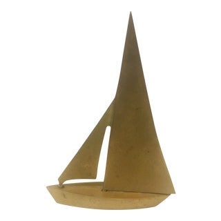Vintage Brass Sailboat Figure