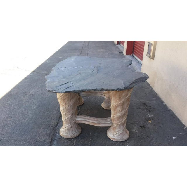 Free Form Slab Slate Top & Wood Base Table - Image 3 of 8