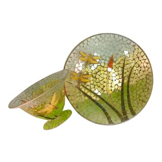 Glass Mosaic Dragonfly Bowl & Plate