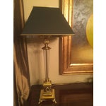 Image of Brass and Blown Glass Table Lamps - Pair