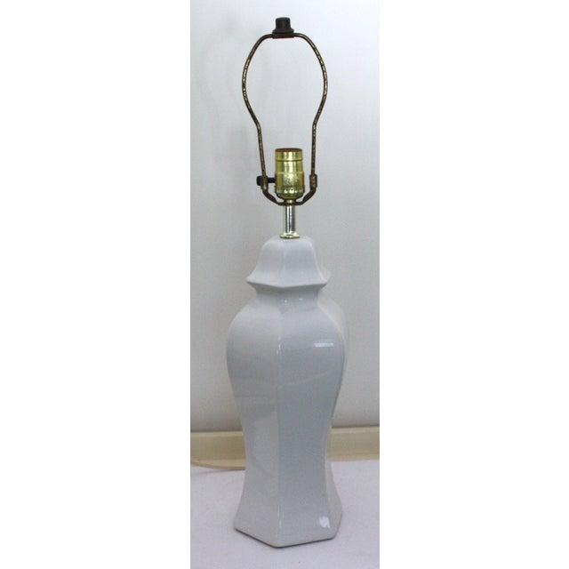 Mid-Century White Ginger Jar Lamp - Image 3 of 4