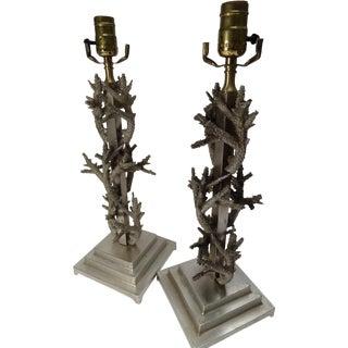 Metal Coral Design Lamps - Pair