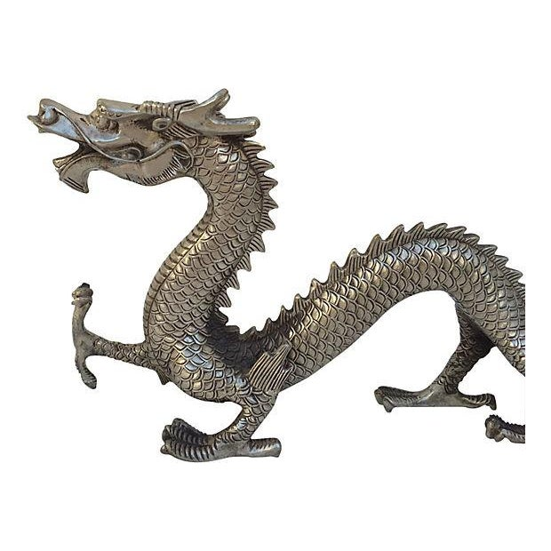 Silver Mid Century Metal Dragon Statue - Image 4 of 7
