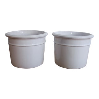 Gainey White Glazed Ceramic Planters - Pair