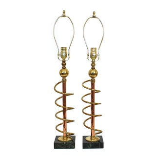 Art Deco Brass, Copper and Marble Lamps - a Pair