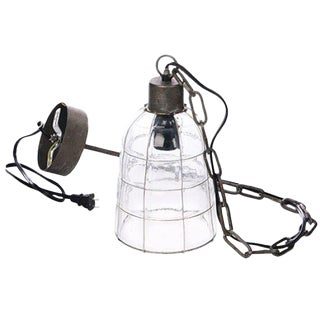 Industrial Style Glass & Wire Cage Pendant Lamp