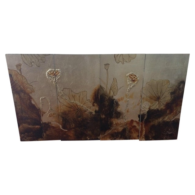 Vintage Asian Lacquer Four Panel Art - Image 1 of 7