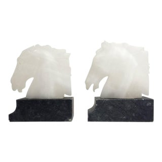 Pair of Vintage Alabaster Horse Head Bookends