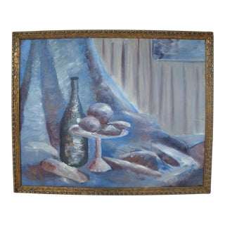 Modernist Tablescape Still Life Painting in Blue