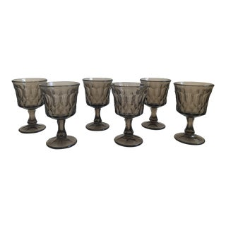 Vintage Thumbprint Smoked Pressed Glass Goblets - Set of 6