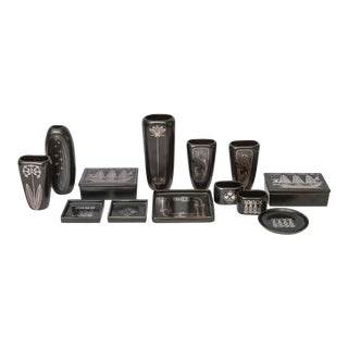 """Collection of Gustavsberg """"Argenta"""" Ceramics in Black Glaze with Silver Inlay"""