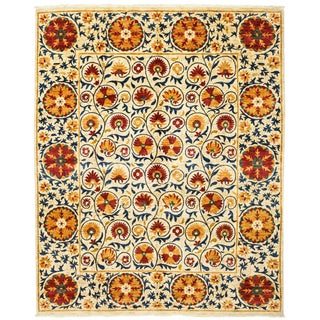 "Suzani, Hand Knotted Floral Motif Wool Area Rug - 8' 2"" X 10' 3"""