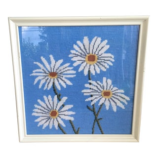 Vintage Retro 1960's Daisy Flower Needlepoint Cross Stitch Framed Art