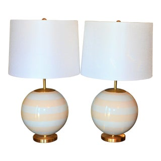 Kate Spade Striped Table Lamps - a Pair