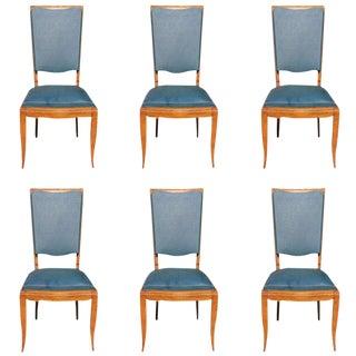 Beautiful Set of Six French Art Deco Solid Walnut Jules Leleu Dining Chairs, 1940s