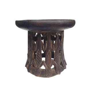 Vintage African Carved Wood Stool Tribal Ceremonial Lizard Stool