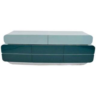 Unique Mid-Century Credenza/Dresser with Chrome Trim