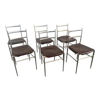 "Six Gio Ponti Style ""Superleggera"" Chrome Chairs"