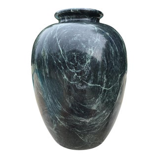Large Tall Green & Black Marble Vase