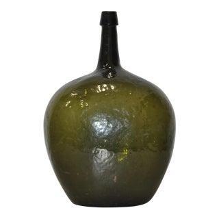 """Large 19th Century Dark Green Glass """"Bladder"""" Bottle"""
