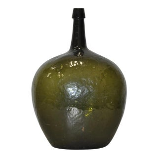 "Large 19th Century Dark Green Glass ""Bladder"" Bottle"