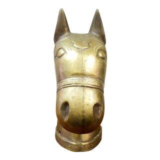 Brass Horse Head Post Ornament