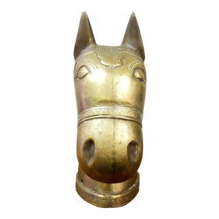 Brass Horse Head Post Ornament