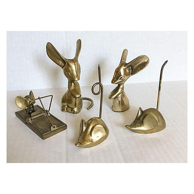 Mid-Century Brass Mouse Collection - Set of 5 - Image 2 of 5