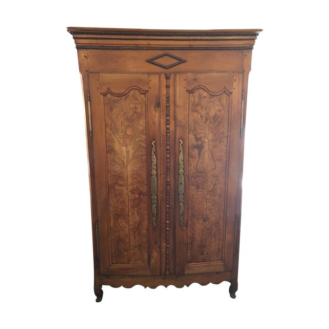 Antique walnut armoire with television mount chairish for Armoire tele