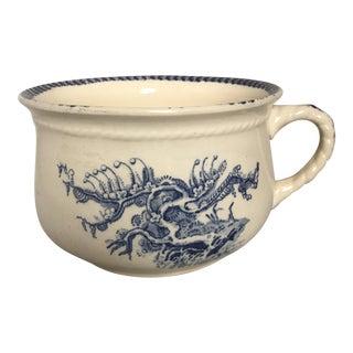Victorian Era Blue & White Ceramic Chamberpot