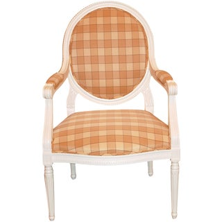 Oval-Back Plaid Upholstered Armchair