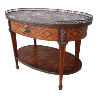 """French Louis XVI Style Parquetry Inlaid Marble Top Accent Table 28.5""""W"""
