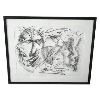 Original Abstract Charcoal Faces Drawing