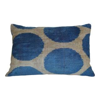 """""""Barbara"""" Blue Spotted Silk Velvet Ikat Pillow"""