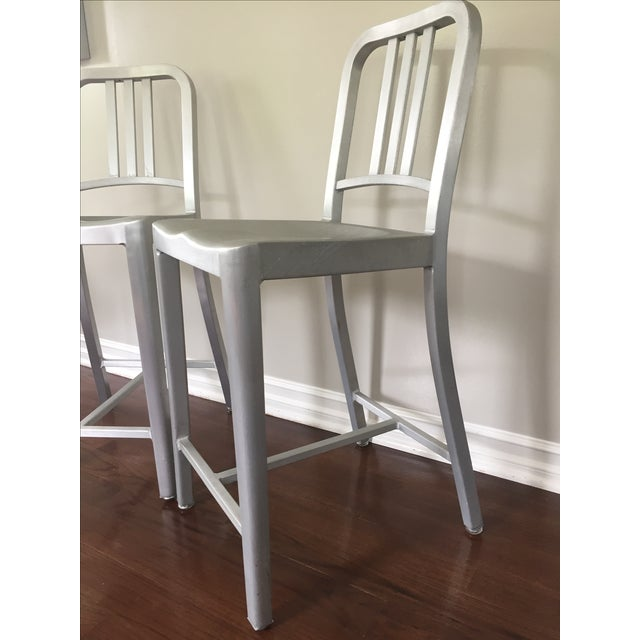Image of Emeco Navy Counter Stools - Pair