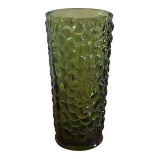 Green Pressed Glass Vase in Grape Harvest Motif