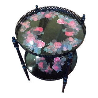 Black & Pink Metal Rose Tole Tray Side Table