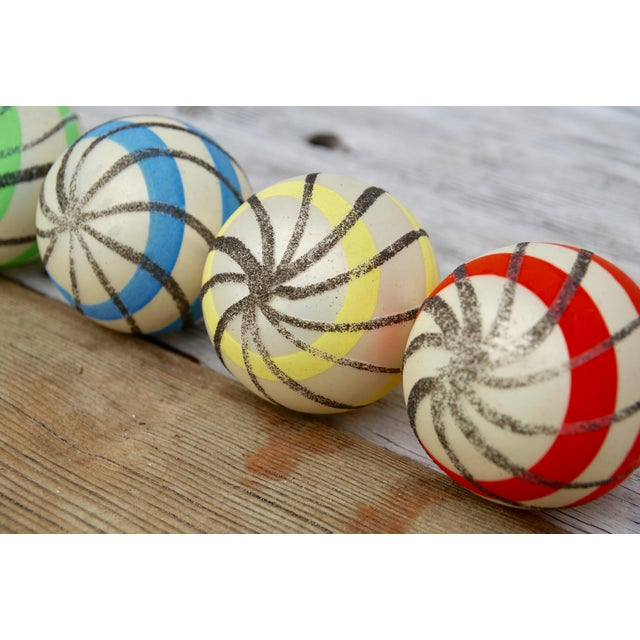 Striped West German Christmas Ornaments - Set of 5 - Image 9 of 11