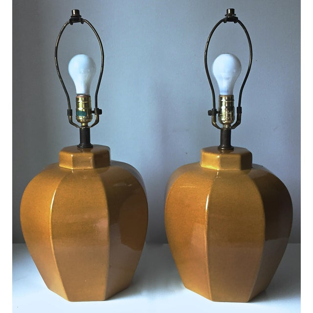 2 Mid Century Chinoiserie Ceramic Lamps - Image 4 of 5